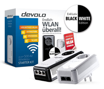 Bild zu devolo dLAN 500 AV Wireless+ Starter Kit (Powerline, 2x Adapter) Black & White Edition für 69,90€ (Vergleich: 99€)
