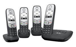 Bild zu GIGASET A415A Quattro Schnurlostelefon (4 Mobilteile) für 69€ (Vergleich: 99,98€)