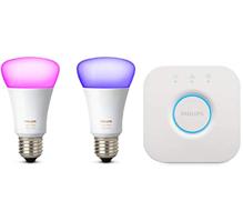 Philips Hue White and Color Ambiance Starter Kit con 2 Lampadine E27 e un Bridge, Compatibile con Goo[...]
