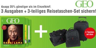 Bild zu 3 Ausgaben GEO (Testabo) für 15,50€ + 3-teiliges Reisetaschen-Set