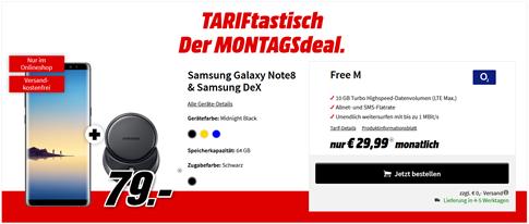 Bild zu Samsung Galaxy Note 8 inkl. Samsung Dex (einmalig 79€) + o2 Free M (10GB Datenvolumen, Allnet- und SMS-Flat) für 29,99€/Monat
