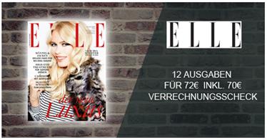 """Bild zu 12 Ausgaben der Zeitschrift """"ELLE"""" für 72€ + 70€ Verrechnungsscheck als Prämie für den Werber"""