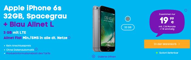 Bild zu Blau.de Allnet Flat (3GB LTE Daten + Allnet Flat + SMS Flat) inkl. iPhone 6S (einmalig 1€) für 18,99€/Monat oder mit iPhone 7 für 26,99€/Monat