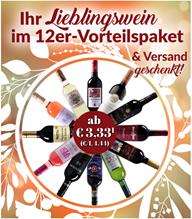 Bild zu Weinvorteil: verschiedene 12er Weinpakete ab 39,96€ + kostenlose Lieferung