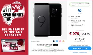 Bild zu [Top – bis 19 Uhr] Samsung Galaxy S9 (einmalig 4,95€) mit Otelo Fantarif im Vodafone(5GB Datenvolumen, SMS-Flat und Sprachflat, EU-Roaming) für 18,48€/Monat