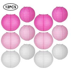 Bild zu 12er Set Papierlaternen in zwei Größen (weiß/rosa) für 9,09€