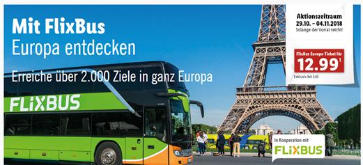 Bild zu Lidl: Flixbus Gutscheine für 12,99€ pro Strecke (europaweit)