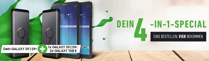 Bild zu Deinhandy.de: 1 Tarif abschließen, & 4 Geräte dazu erhalten (2x Galaxy S9+/S9 + 2x Galaxy Tab E)