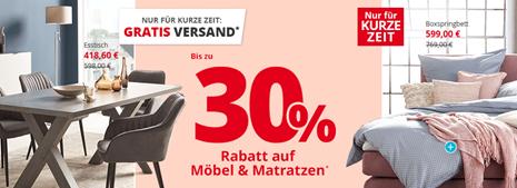 Bild zu Möbel Höffner: bis zu 30% Rabatt auf Möbel & Matratzen +  Versandkostenfrei