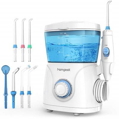 Bild zu Homgeek elektrische Munddusche mit verstellbarem Wasserdruck und 7 Funktionsdüsen für 26,99€