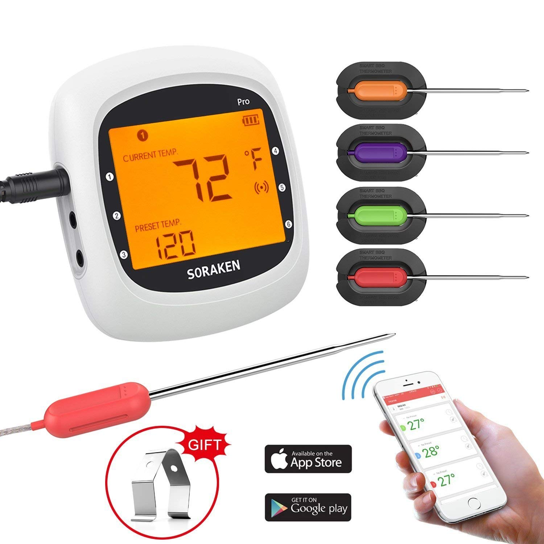 Bild zu Digitales Bluetooth Grill-Thermometer mit 4 Sonden für 19,99€