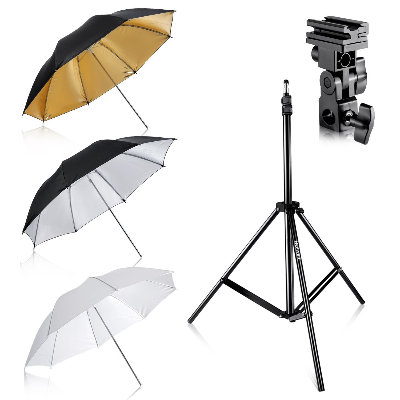 Bild zu Neewer Foto Studio Schirm-Set (Drei Schirme mit 84 cm Durchmesser und Ständer) für 19,79€