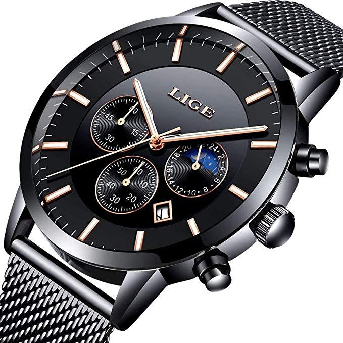 Bild zu [Prime] Lige Herren Chronograph mit Milanaise Mesh Armband für 17,49€