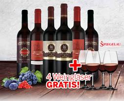 Bild zu ebrosia: Robert Parker Probierpaket mit 6 Flaschen Rotwein und 4 Spiegelau Weingläsern für 54,85€