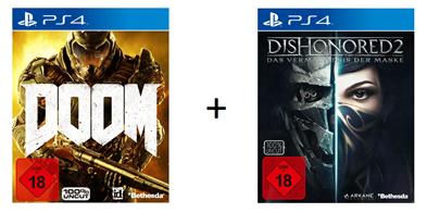 Bild zu DOOM (Day One Edition) + Dishonored 2 (PS4) für 18€ (Vergleich: 25,37€)