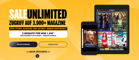 Bild zu 2 Monate READLY (Magazin-Flatrate) für 1,99€ statt 19,98€