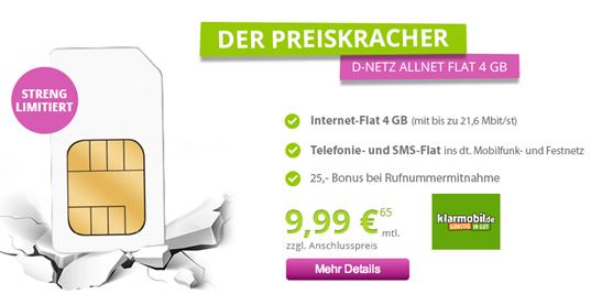 Bild zu [Wichtiges Update] Klarmobil Allnet Flat mit 4GB Datenflat (kein LTE), SMS Flat und Sprachflatrate im Vodafone-Netz für 9,99€/Monat