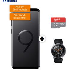 Bild zu Samsung S9+ Dual-SIM & 200GB Speicherkarte & Samsung Galaxy Watch 46mm (einmalig 29€) mit o2 Free M Boost Tarif (20GB LTE Datenvolumen, Allnet/SMS-Flat, EU-Roaming) für 39,99€/Monat