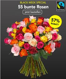 Bild zu Blume Ideal: Blumenstrauß mit 55 bunten FAIRTRADE Rosen für 29,98€