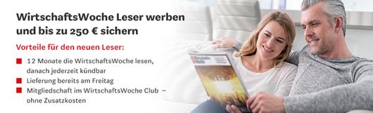 """Bild zu Jahresabo (52 Ausgaben) der Zeitschrift """"WirtschaftsWoche"""" für 349€ + 250€ Verrechnungsscheck für den Werber"""