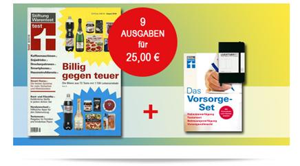 """Bild zu [Top] 9 Ausgaben """"Stiftung Warentest"""" (Normalpreis 47,97€) + Finanztest """"Vorsorge-Set (Vergleich: 14,90€) + Notizbuch für 25€"""