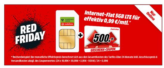 Bild zu MediaMarkt: 5GB LTE Vodafone Datenflat oder 4GB LTE Telekom Datenflat für 19,99€ inkl. 500€ MediaMarkt Gutschein (effektiv 99 Cent pro Monat)