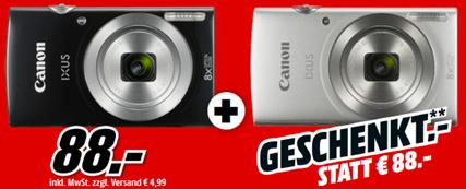 Bild zu 2 x CANON Ixus 185 Digitalkamera Schwarz, 20 Megapixel, 8x opt. Zoom, LCD für 88€ (Vergleich eine Cam = 85,75€)