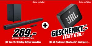 Bild zu JBL BAR 21 BLKEP Soundbar + JBL GO2 Bluetooth Lautsprecher für 273,99€ (Vergleich: 330,84€)