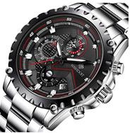 Bild zu WISHDOIT Herren Uhr (Chronograph, wasserdicht, silber) mit Edelstahlarmband für 23,09€