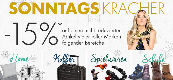 Bild zu Karstadt SonntagsKracher, z.B. 15% Rabatt auf einen nicht reduzierten Artikel aus ausgewählten Bereichen