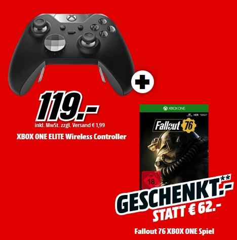 Bild zu XBox One Elite Wireless Controller und Fallout 76 für 119€ (Vergleich: 145,66€)
