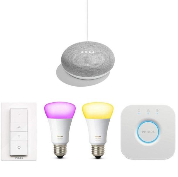 Bild zu Philips Hue Color Starter Set Lite + Google Home Mini für 119€ (Vergleich: 158,99€)