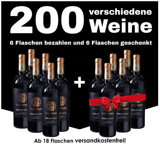 Bild zu [nur noch heute] Weinvorteil: 50% Rabatt auf alle nicht reduzierten Weine + versandkostenfreie Lieferung ab 18 Flaschen