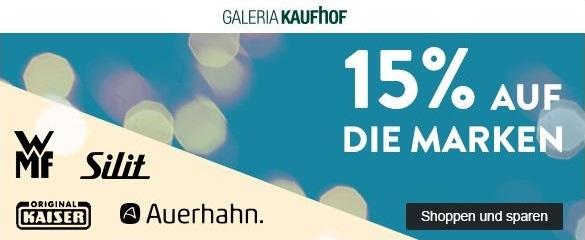 Bild zu Galeria Kaufhof Dienstagsangebot: 15% Rabatt auf die Marken WMF, Silit, Kaiser und Auerhahn