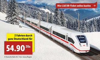 Bild zu Lidl: 2 Bahn Fahrten quer durch ganz Deutschland für 54,90€