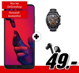 Bild zu [Knaller] HUAWEI P20 Pro Dual SIM & Huawei Watch GT & Huawei FreeBuds (einmalig 49€) mit Telekom Flat Allnet Comfort Tarif (2GB Datenflat, Allnet-Flat) für 26,99€/Monat