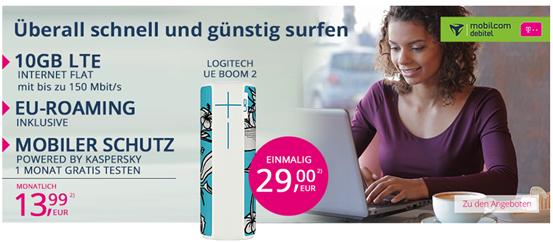 Bild zu 10GB Telekom LTE Datenflat inkl. EU Roaming + Logitech UE Boom 2 (einmalig 29€) für 13,99€/Monat (oder 4GB für 9,99€/Monat)