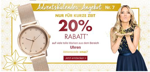 5c3945e7de Im Adventskalender bei Karstadt hat sich ein neues Türchen geöffnet. Dort  bekommt ihr heute 20% Rabatt auf viele Uhren.