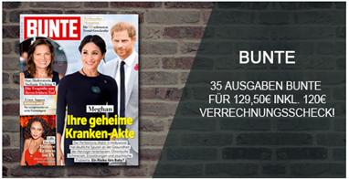 """Bild zu 35 Ausgaben der Zeitschrift """"Bunte"""" für 129,50€ + 120€ Verrechnungsscheck als Prämie"""