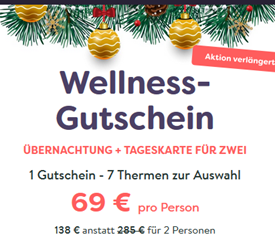 Bild zu Wellness-Gutschein für eine Übernachtung + Tageskarte in 7 Thermen für 69€ pro Person