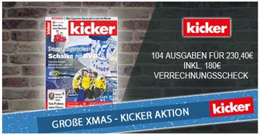 """Bild zu Jahresabo (104 Ausgaben) """"Kicker"""" für 230,40€ + 180€ Verrechnungsscheck als Prämie"""