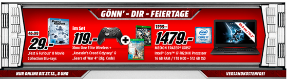 Bild zu MediaMarkt – Gönn´ dir Feiertage, z.B. Xbox One Elite Controller + Assassin's Creed: Odyssey + Gears of War 4 (digi. Code) für 119€
