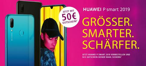 Bild zu Huawei P Smart (2019) + 50€ Gutschein + Echo Dot (3. Gen.) für 4,95€ im Blau Allnet L (3GB LTE, Allnet- & SMS-Flat) für 14,99€/Monat