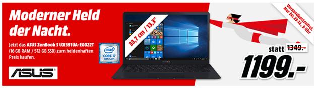 """Bild zu MediaMarkt """"Held der Nacht"""": ASUS ZenBook S UX391UA-EG022T für 1.199€ (Vergleich: 1.353,99€)"""