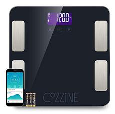 Bild zu Cozzine Bluetooth Körperfettwaage (misst Körperfett, BMI, Muskelmasse, Kalorien, BMR, Protein, Knochenmasse, Gewicht, usw. bis 180kg) für 18,59€