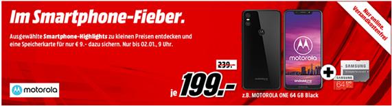 Bild zu MediaMarkt Smartphone Fieber, z.B. Motorola One 64GB + Samsung Evo Plus Speicherkarte 64GB für 208€ (Vergleich: 237,20€)