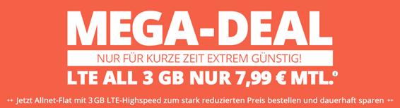 Bild zu o2-Netz mit 3GB LTE Datenflat, SMS und Sprachflat für 7,99€/Monat und 9,99€ Anschlussgebühr – monatlich kündbar