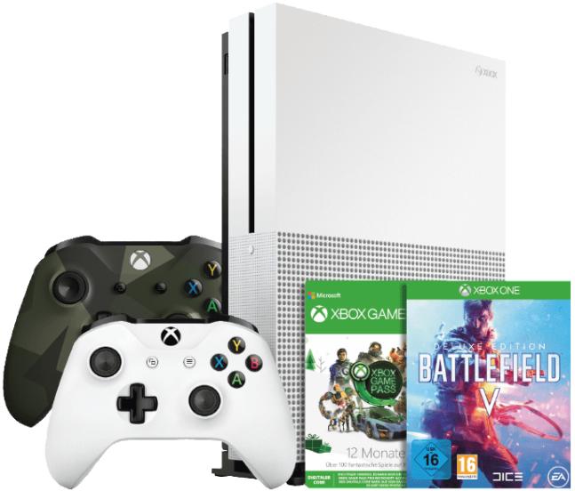 Bild zu Xbox One S 1TB Konsole + 2. Controller + 1 Jahr Game Pass + Battlefield 5 + Battlefield 1 + Battlefield 1943 für 249€ (Vergleich: 284,97€)