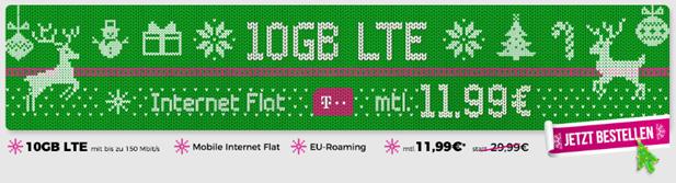 Bild zu 10GB Telekom LTE Datenflat inkl. EU-Roaming für 11,99€ pro Monat