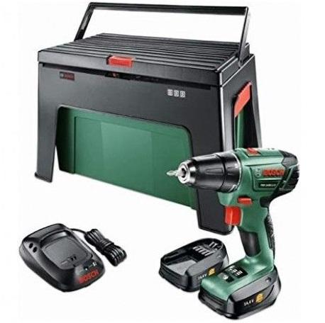 Bild zu Akkuschrauber Bosch PSR1440 LI-2 + 2 x Li-Akku + Werkzeugkiste Step & Workbox für 89,99€ (Vergleich: 133,89€)